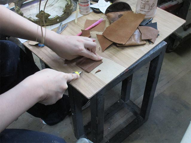 Handcrafting something out of the fine leather